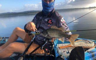 North Pine Dam - Australian Bass caught by Marty on his Dream Kayak Werewolf 10x